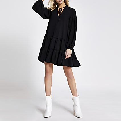 Black long sleeve tie neck mini smock dress