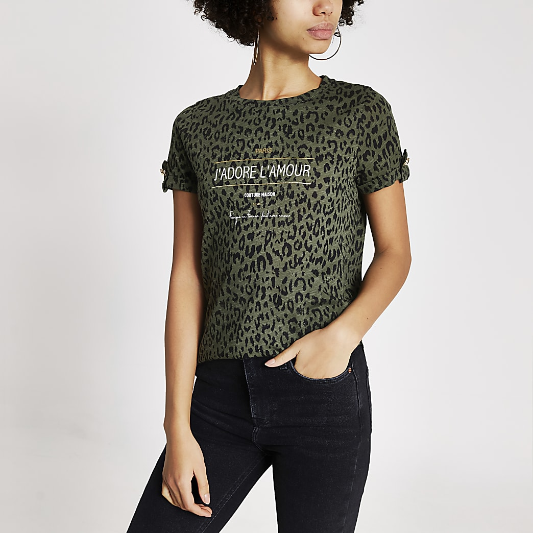 Khaki animal printed turn-up sleeve T-shirt