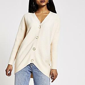 Petite– Cardigan crèmeen maille côteléeavec boutons perles