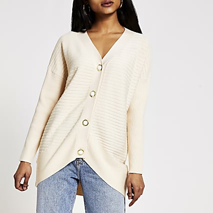 Petite cream pearl button rib knit cardigan