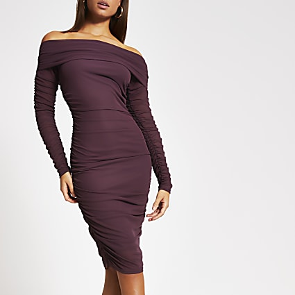 Purple ruched bardot bodycon midi dress