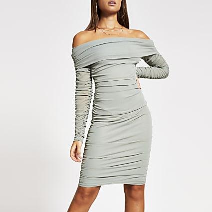 Green ruched bardot bodycon midi dress