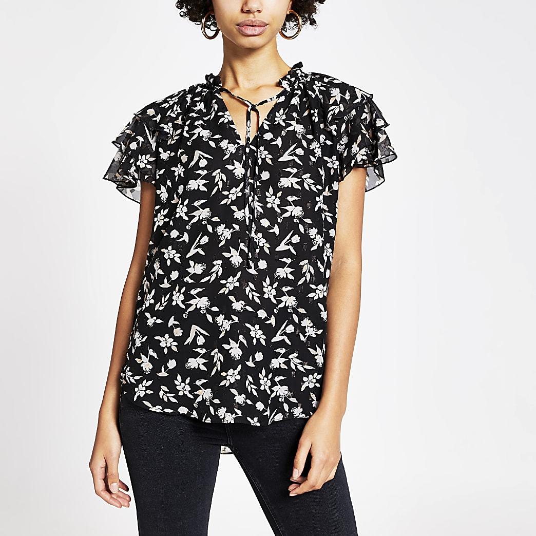 Black floral print frill sleeve blouse