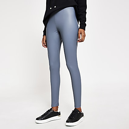 Grey matte coated high waisted leggings