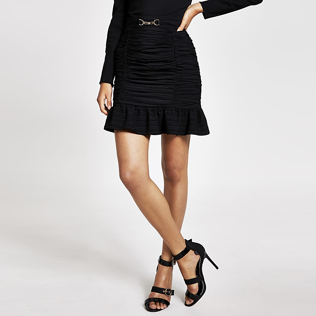 Black ruched frill mini skirt