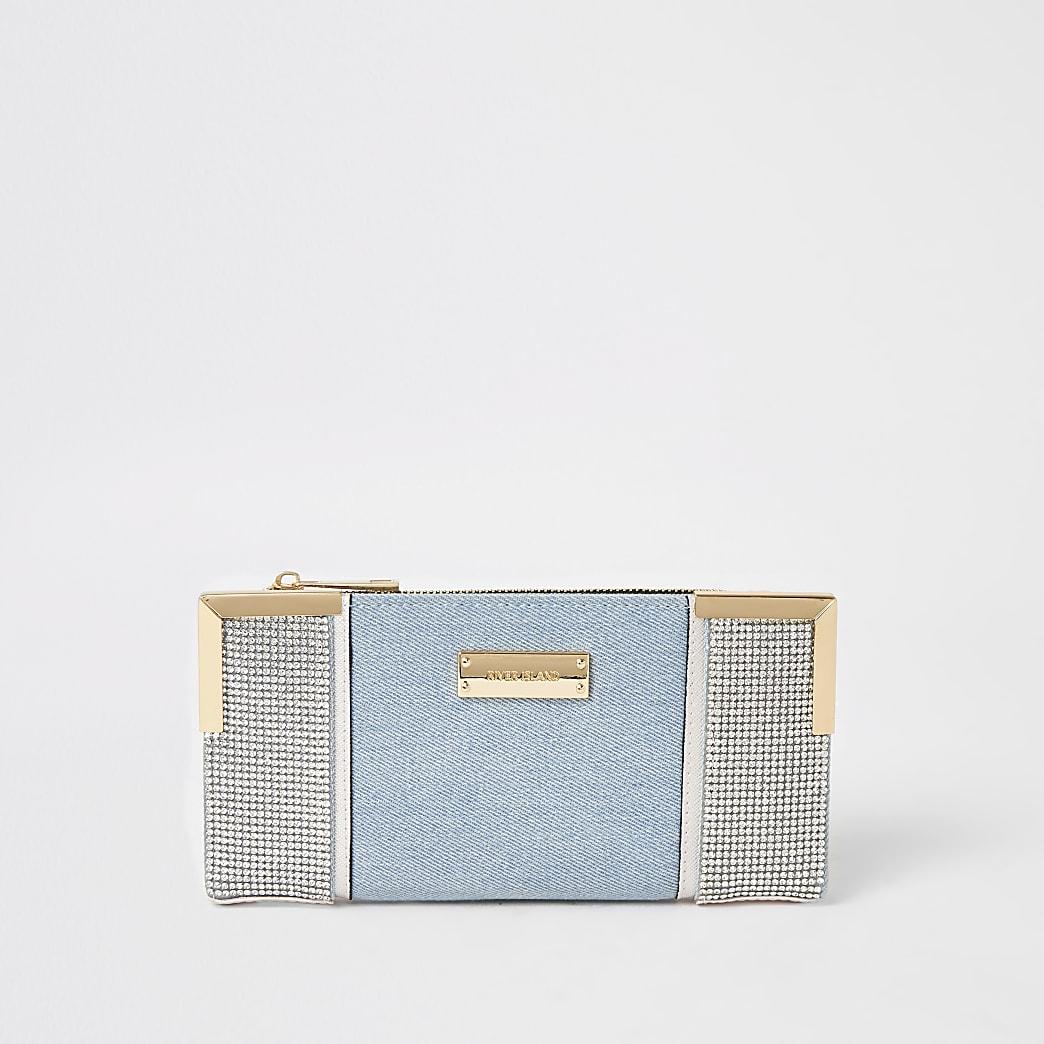 Blue denim diamante embellish fold out purse