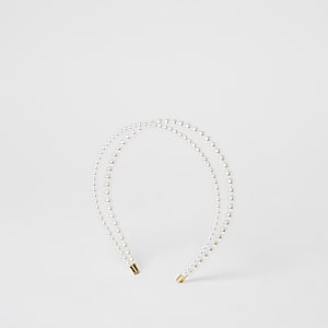 Doppelter Perlen-Haarreifen in Weiß