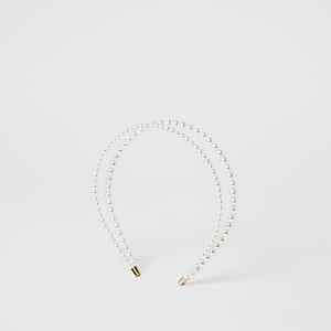 Witte dubbel gelaagde haarband met parels