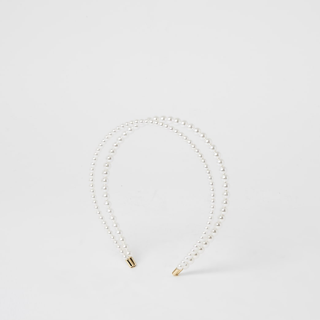 White pearl double layered headband