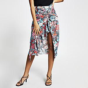 Blauwe midi-rok met gedraaide voorkant en bloemenprint