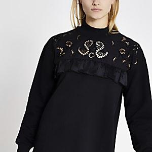 Gerüschtes Sweatshirt-Kleid in Schwarz mit Lochstrickmuster