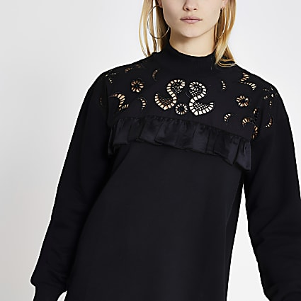 Black broderie frill sweatshirt dress