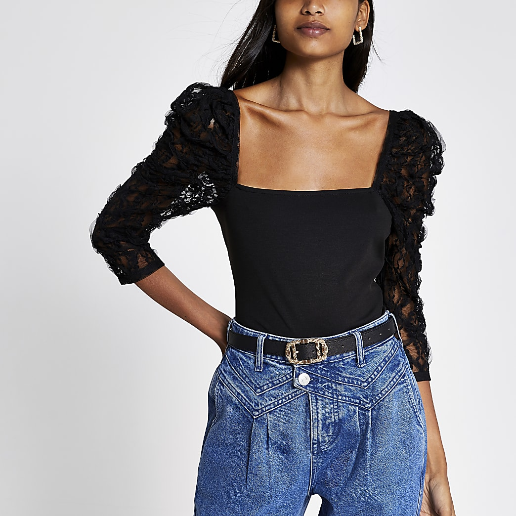 Black long mesh puff sleeve top