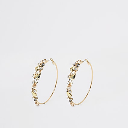 Gold colour jewel embellished hoop earrings