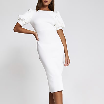 White short puff sleeve midi bodycon dress