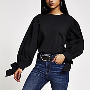 Petite – Schwarzes T-Shirt mit langen Puffärmeln aus Popelin