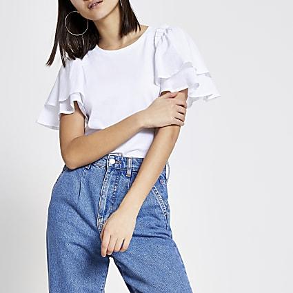 White frill poplin sleeve T-shirt