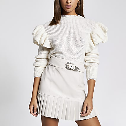 Cream faux leather belted pleated mini skirt