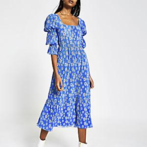 Blauwe midi-jurk met bloemenprint van plisé-stof met rechthoekige hals