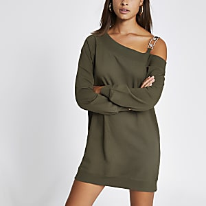 Sweatshirt-Kleid in Khaki mit Schulterapplikation