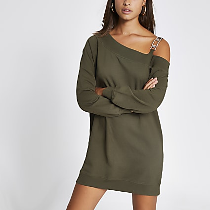 Khaki one embellish shoulder sweatshirt dress