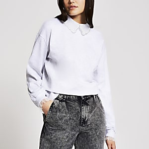 Graues Sweatshirt mit Strasskragen