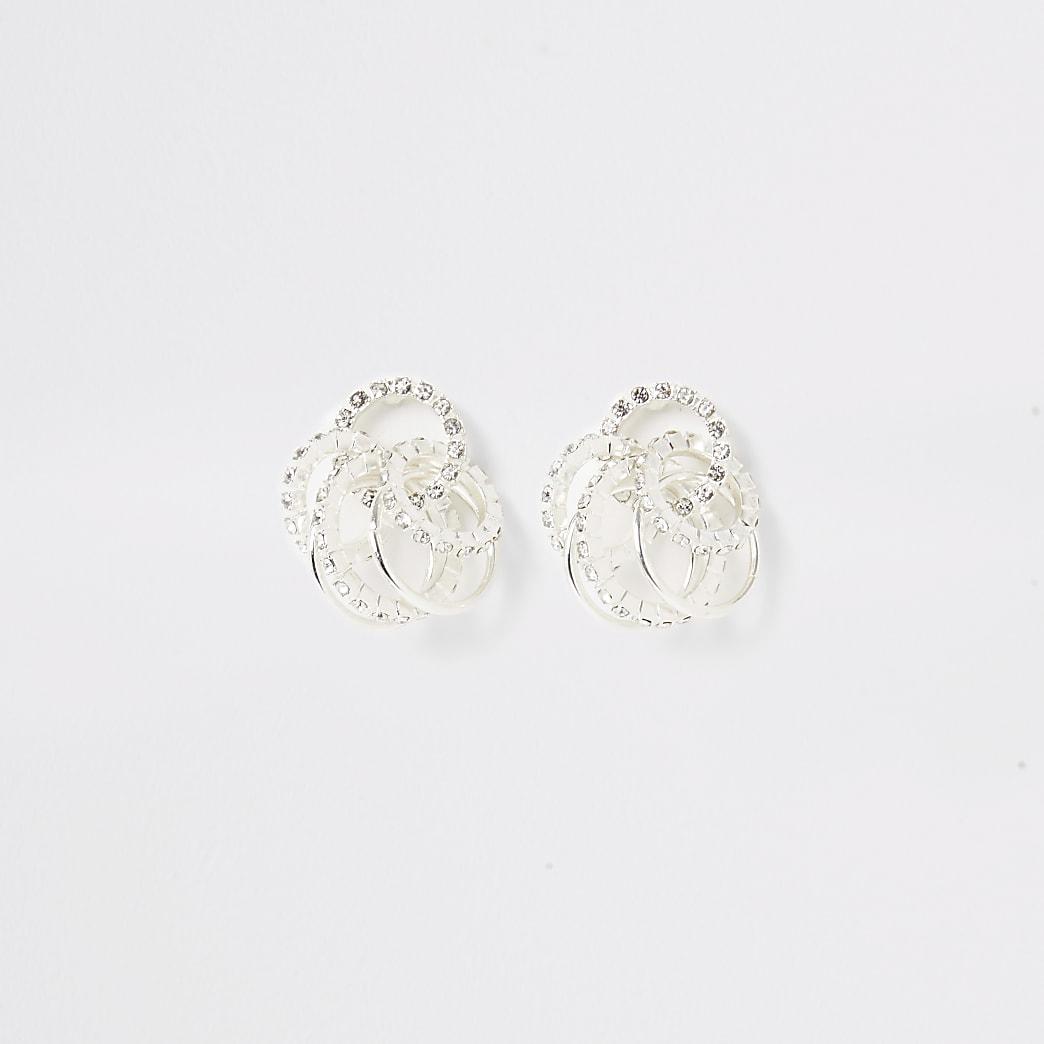 Silver diamante interlinked ring earrings