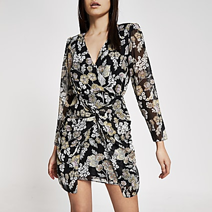 Black floral twist front V neck mini dress