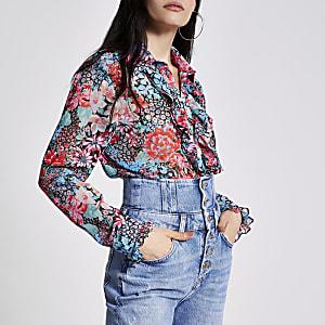 Blauw overhemd met bloemenprint en lange mouwen en ruches