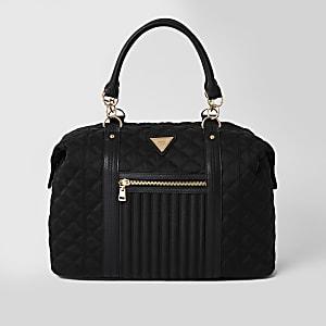 Black quilted cross body weekend bag