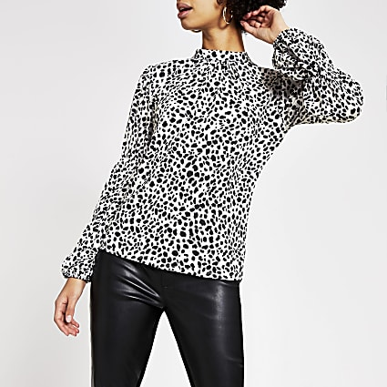 White animal print long sleeve blouse