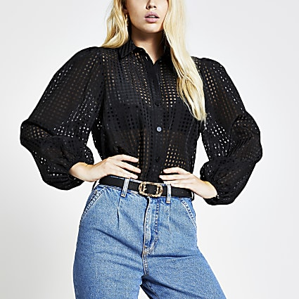 Black check long puff sleeve shirt