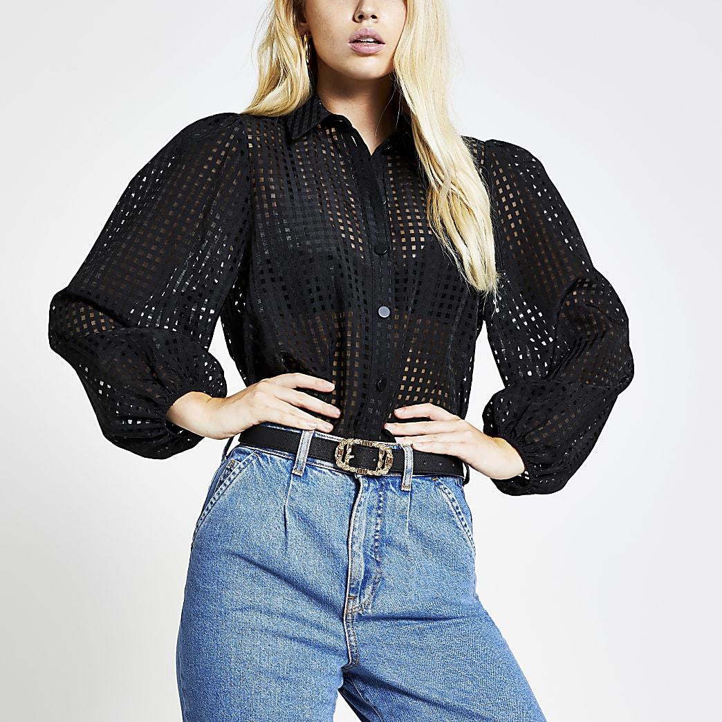 Black check long puff sleeve shirt