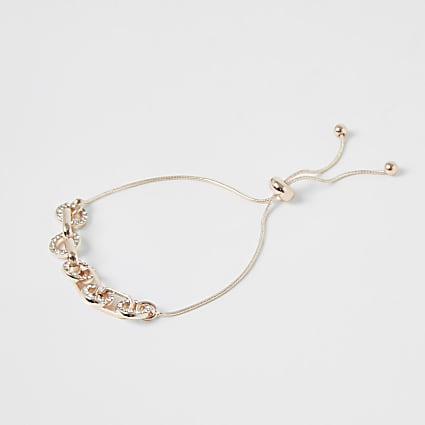 Rose gold colour diamante lariat bracelet