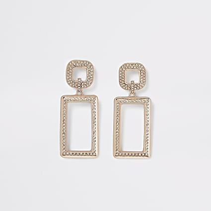 Rose gold colour diamante rectangle earrings