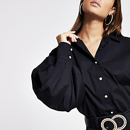 Black balloon sleeve shirt