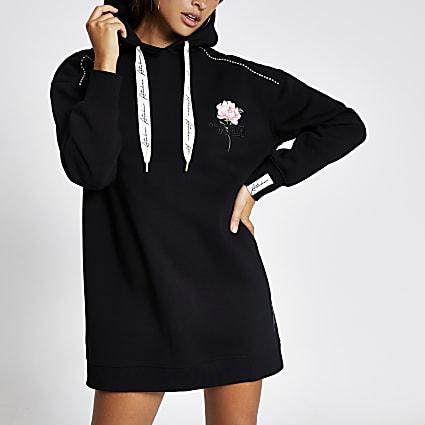 Black ATLR floral diamante longline hoodie