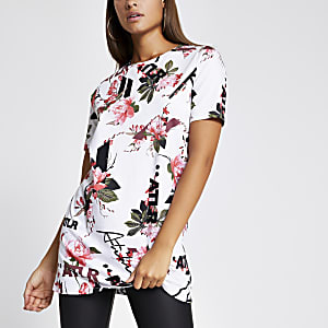 T-shirt oversizeATLR blancà fleurs
