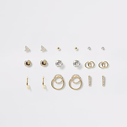 Gold colour diamante stud earring mutlipack