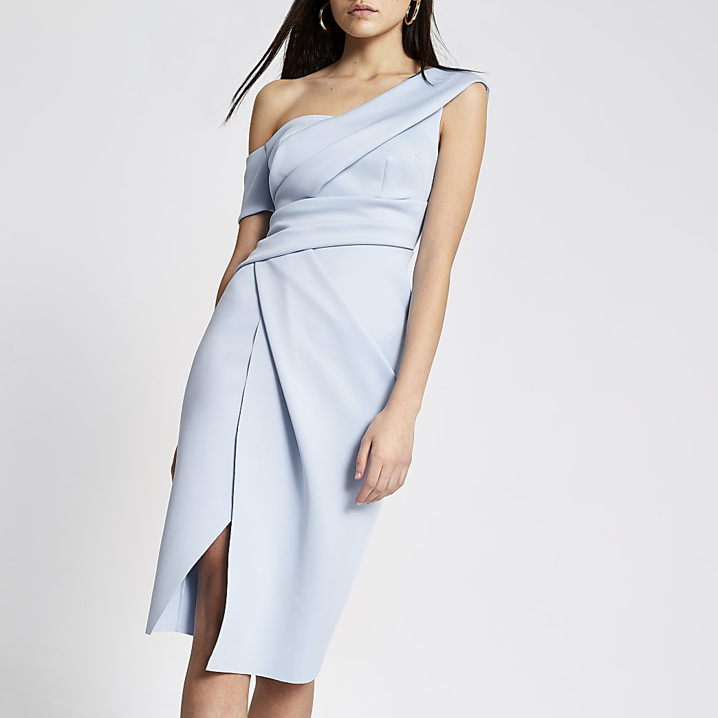 Blue one shoulder wrap bodycon midi dress
