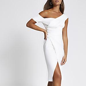 Robe moulante portefeuille mi-longue asymétrique blanche