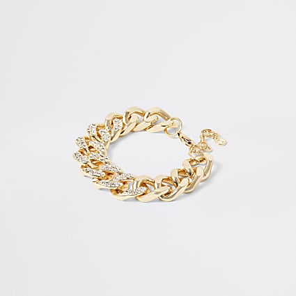 Gold colour diamante chunky chain bracelet