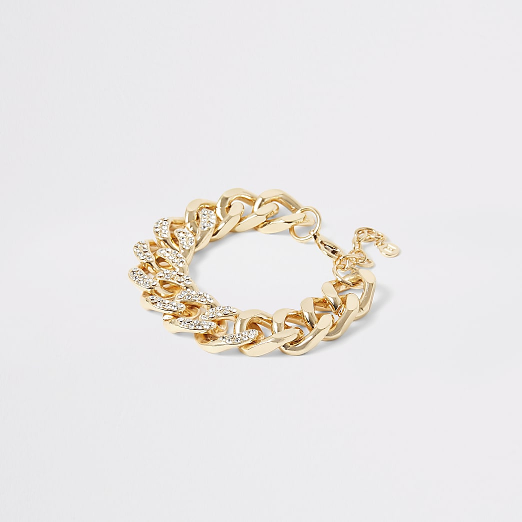 Gold colour diamante chunky chain bracelet