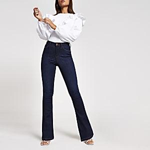 Donkerblauwe bootcut jeans met hoge taille