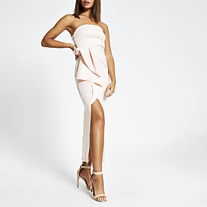 Pink sleeveless ruffle bodycon maxi dress