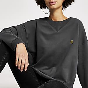Graues, langärmeliges Boxy Fit Sweatshirt im Rippenstrick