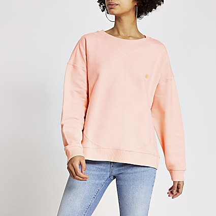 Bright pink ribbed boxy fit sweatshirt