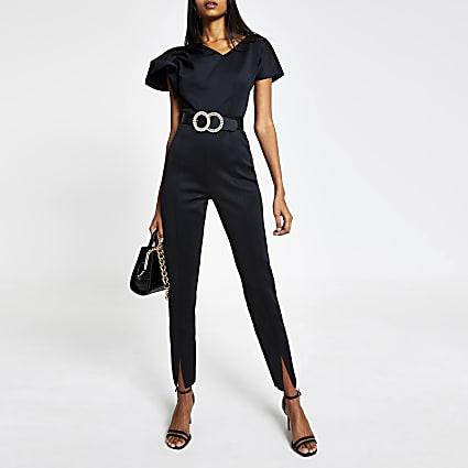 Black sleeveless tapered leg jumpsuit