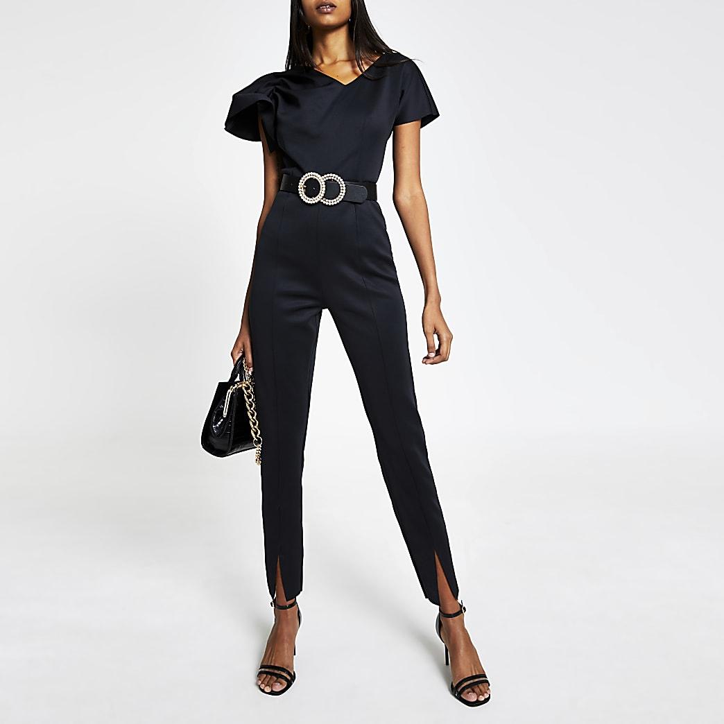 Black sleeveless tapered leg jumpsuit