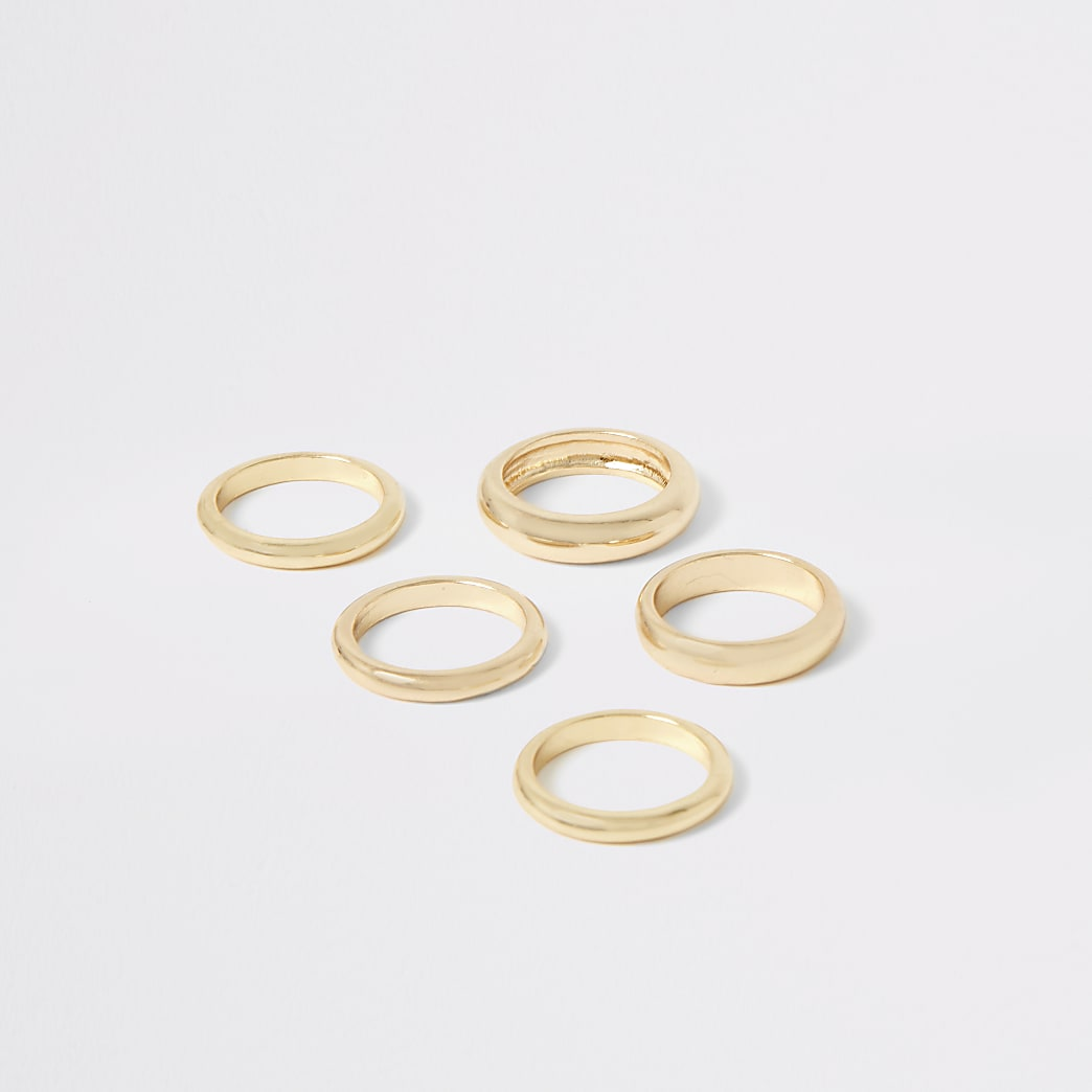 Gold colour ring multipack